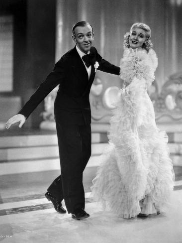 Fred Astaire and Ginger Rogers in Black Tuxedo and Furry Dress Photo