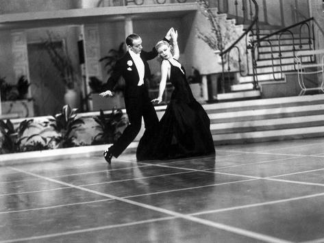 Fred Astaire and Ginger Rogers in Suit and Black Dress, Dancing Photo