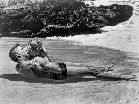 From Here To Eternity Couple Kissing Laying in Seashore Photo