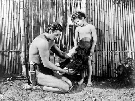 Johnny Weissmuller Kneeling in Black and White Photo