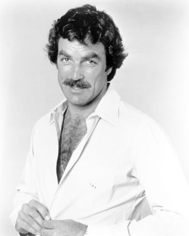 Magnum Pi Posed in White Polo with Hairy Chest Photo