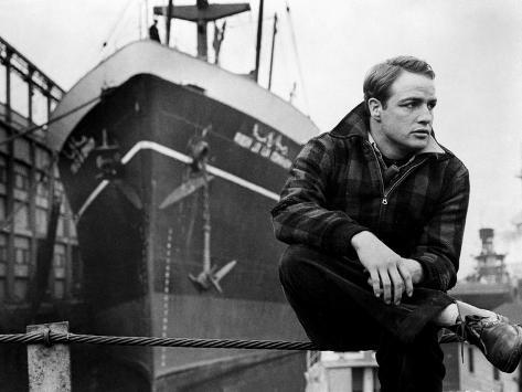 Marlon Brando sitting in Plaid Jacket Photo