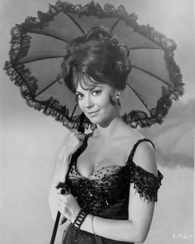 Natalie Wood posed and Holding an Umbrella Photo