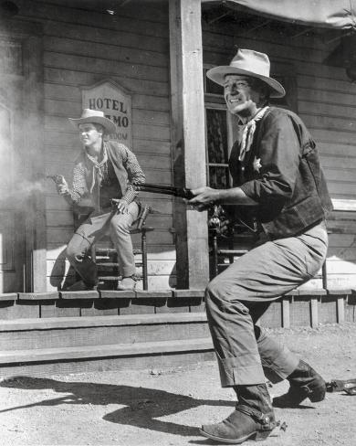 Rio Bravo Gun Fight Scene in Black and White Photo