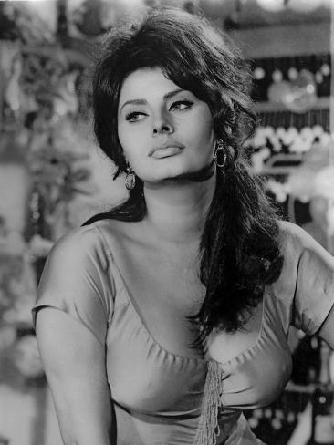sophia loren wearing a scoop neck blouse in a portrait photo by