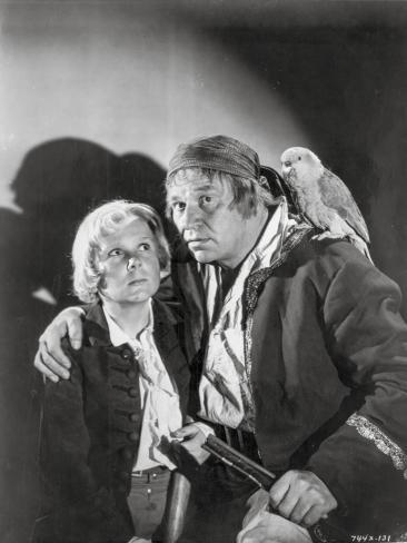 Treasure Island Movie Scene in Black and White with a Parrot Photo