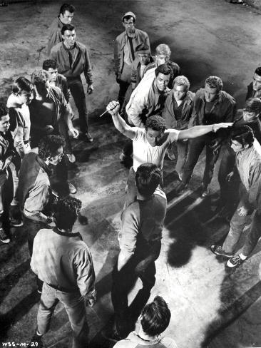 West Side Story Fighting Scene in Black and White Photo