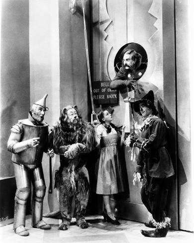 Wizard Of Oz Four People Listening at the Man Above Them in Black and White Photo