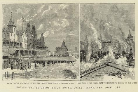Moving the Brighton Beach Hotel, Coney Island, New York, USA Giclee Print