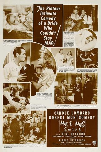 Mr. and Mrs. Smith, Robert Montgomery, Carole Lombard, 1941 Art Print
