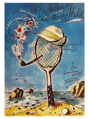 Mr. Hulot's Holiday, German Movie Poster, 1953 Art Print