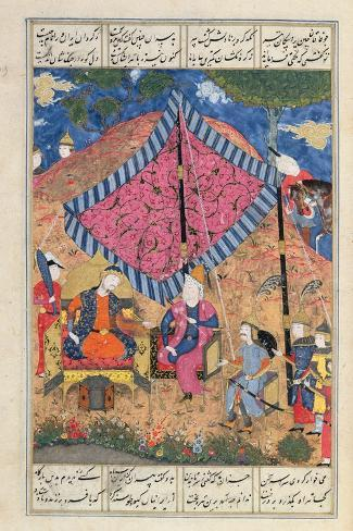 オールポスターズの ms d 184 fol 203a the tent of the persian army