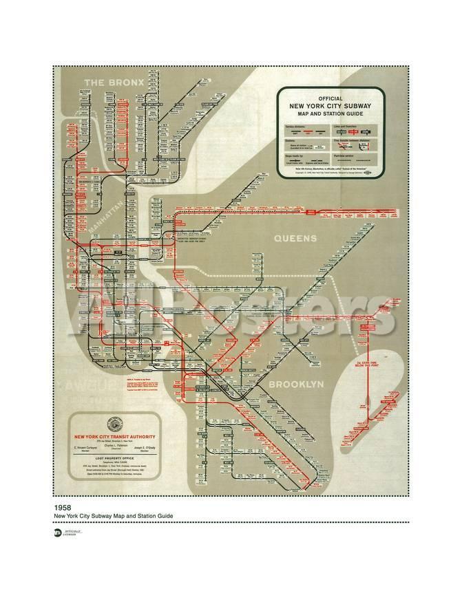 1958 New York Subway Map.Mta Map 1958