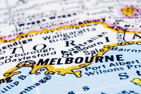 close up of melbourne on map australia
