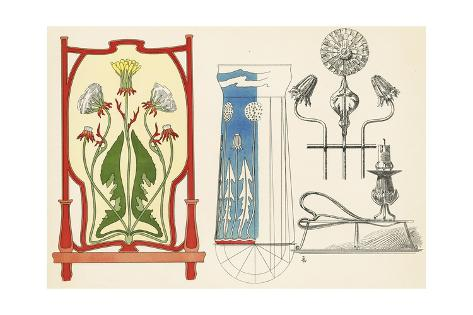 Multiple Decorative Dandelion Ornaments Art Print