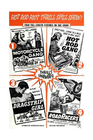 Multiple poster for HOT ROD GANG (1958), MOTORCYCLE GANG (1957) Stretched Canvas Print