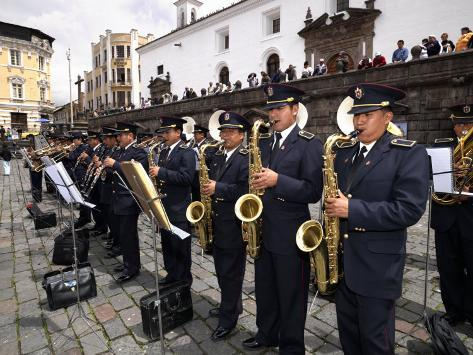Municipal Band Performing at a Town Square, Plaza De San Francisco, Quito, Ecuador Stretched Canvas Print