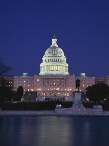 Illuminated Capitol at night, Washington D.C. Photographic Print