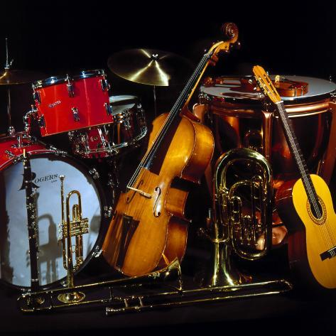 Musical Instruments, Band, Bands, Kit, Drums, Percussion, Double Bass, Music Photographic Print