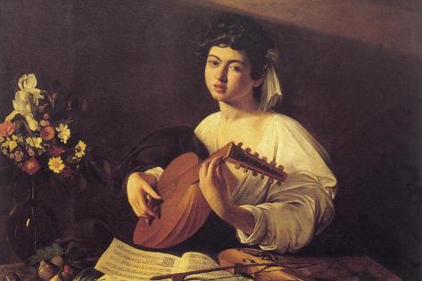 Musician Playing Lute Wall Decal