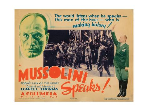 Mussolini Speaks!, Benito Mussolini (Top Left, Center and Far Right), 1933 Giclee Print