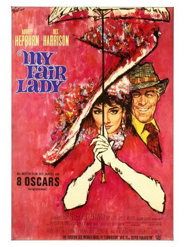 My Fair Lady, German Movie Poster, 1964 Premium Giclee Print