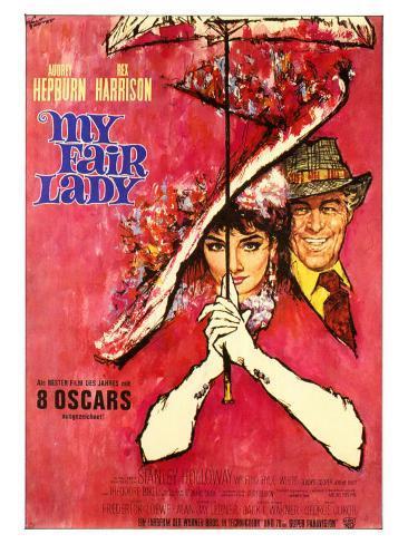 My Fair Lady, German Movie Poster, 1964 Art Print