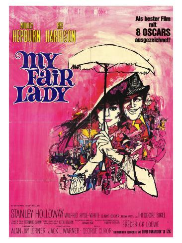 My Fair Lady, German Movie Poster, 1964 Konstprint
