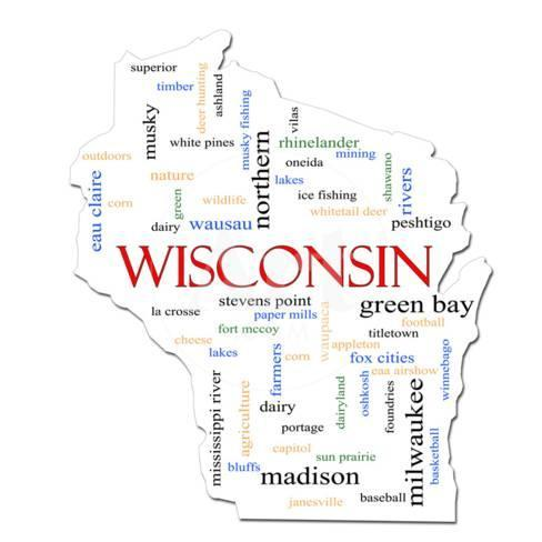 Wisconsin Map Word Cloud Concept Prints By Mybaitshop At Allposters Com