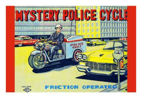 Mystery Police Cycle Stretched Canvas Print