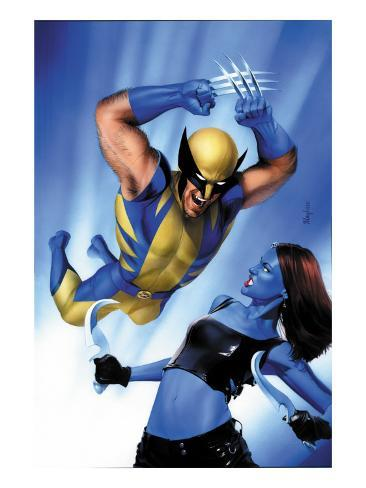 Mystique No.23 Cover: Wolverine and Mystique Stretched Canvas Print
