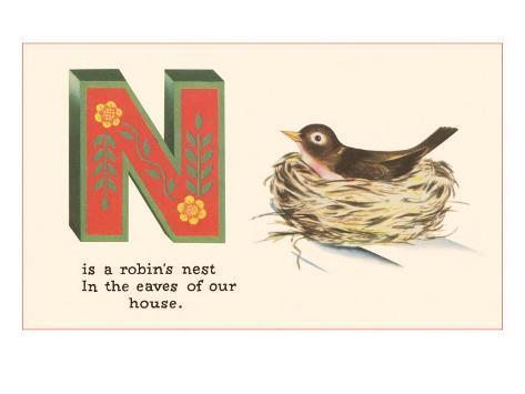 N is a Robin's Nest Art Print