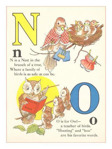 N is for Nest, O is for Owl Art Print