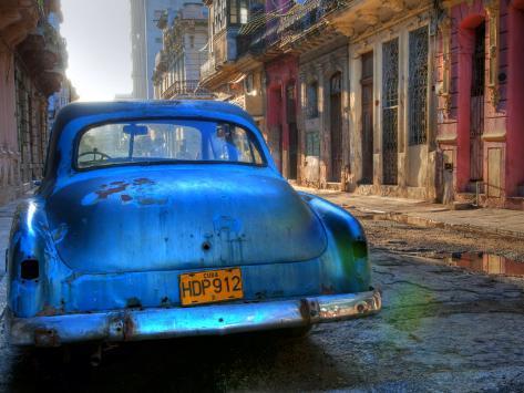 Blue Car in Havana, Cuba, Caribbean Photographic Print