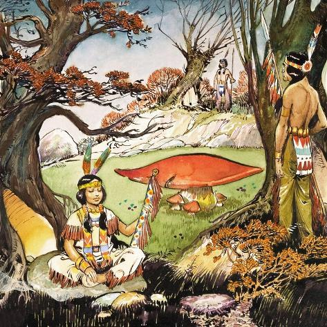 A Squaw and Braves, Illustration from 'Peter Pan' by J.M. Barrie Giclee Print