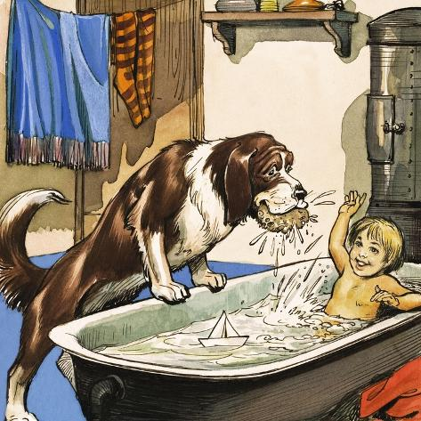 Nana Baths Michael, Illustration from 'Peter Pan' by J.M. Barrie Giclee Print