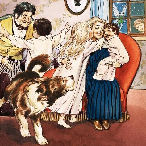 The Darling Family, Illustration from 'Peter Pan' by J.M. Barrie Giclee Print