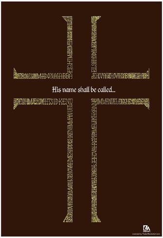 Names of Jesus Cross Text Poster Póster