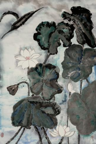 Lotus Study with Blue Green I Stampa artistica