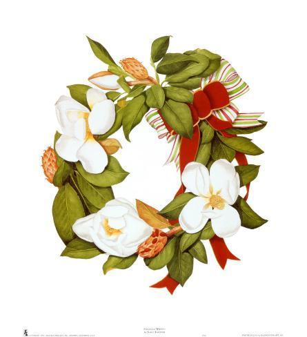 Magnolia Wreath Art Print