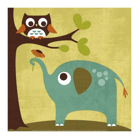 Owl and Elephant Art Print