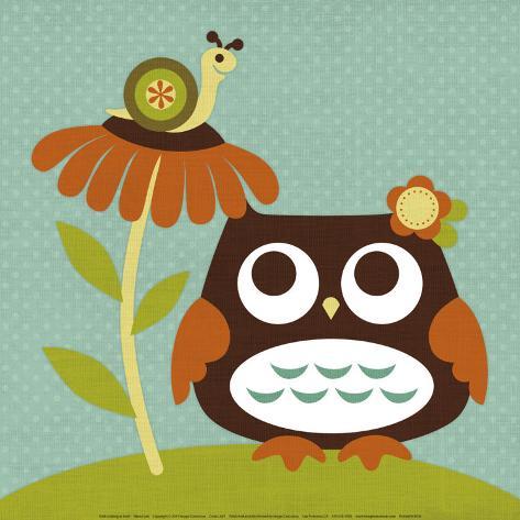 Owl Looking at Snail Art Print