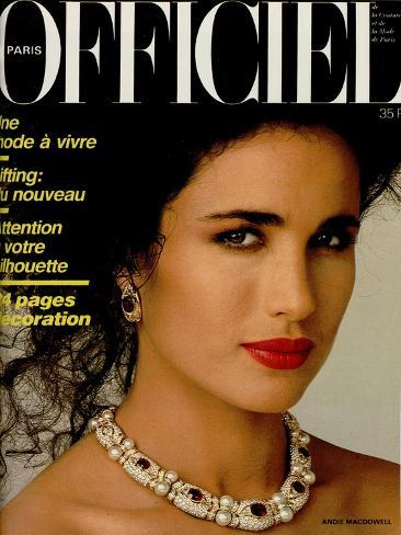 L'Officiel, April 1986 - Andie MacDowell Taidevedos