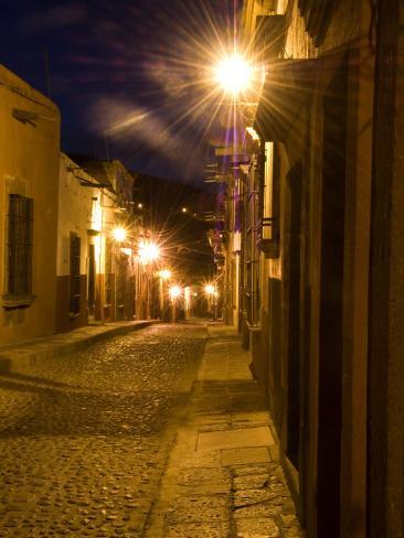 Street Scene Before Sunrise, San Miguel De Allende, Mexico Photographic Print
