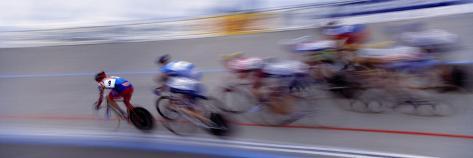 Bike Racers at Velodrome Photographic Print