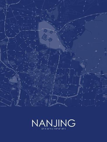 Nanjing china blue map lmina en allposters nanjing china blue map pster gumiabroncs Image collections