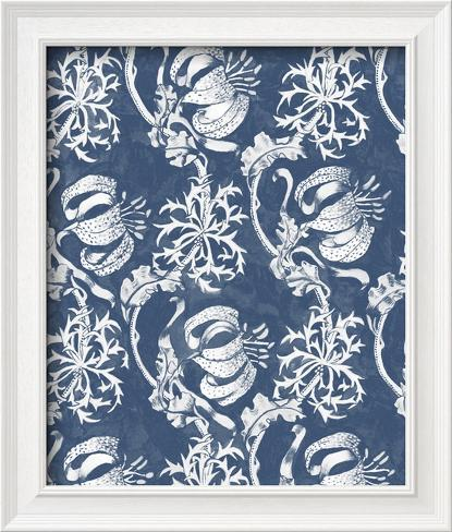 Indigo Floral Chintz I Framed Art Print