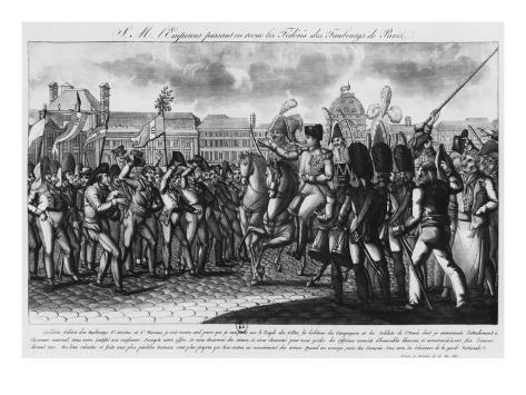 Napoleon I Reviewing the Federes of Parisian Suburbs at Tuileries, Illustration from 'Le Moniteur' Stretched Canvas Print