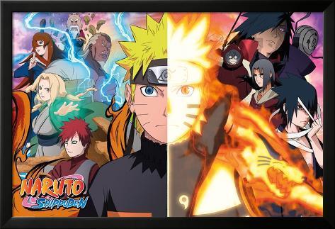 Naruto Shippuden- Divided Sides Lamina Framed Poster