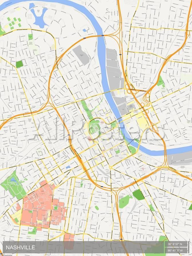 Nashville Us Map.Nashville United States Of America Map Print At Allposters Com
